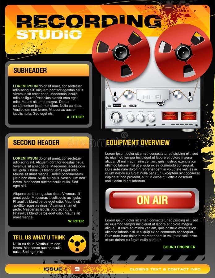 Vector del aviador del folleto del estudio de grabación de los sonidos stock de ilustración