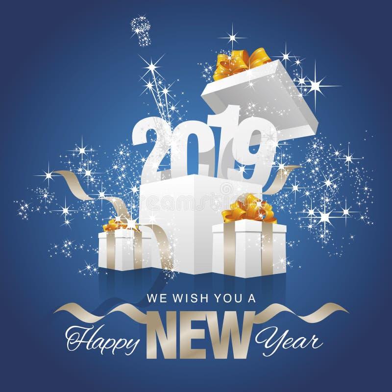 Vector 2019 del azul de la caja de regalo de la chispa del fuego artificial de la Feliz Año Nuevo ilustración del vector