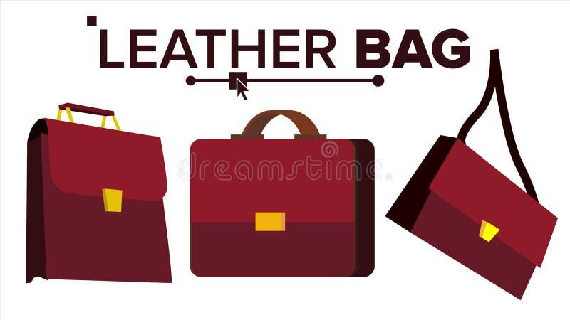 Vector del bolso de cuero Cartera de la elegancia de Brown de la oficina Para el varón, femenino Ejemplo aislado historieta plana ilustración del vector