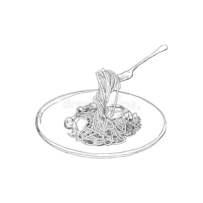 Vector del bosquejo de los espaguetis stock de ilustración