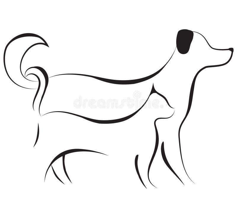Vector del bosquejo del gato y del perro libre illustration