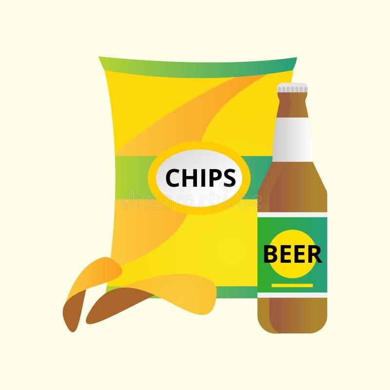 Vector del botella de cerveza y fritas de las patatas libre illustration
