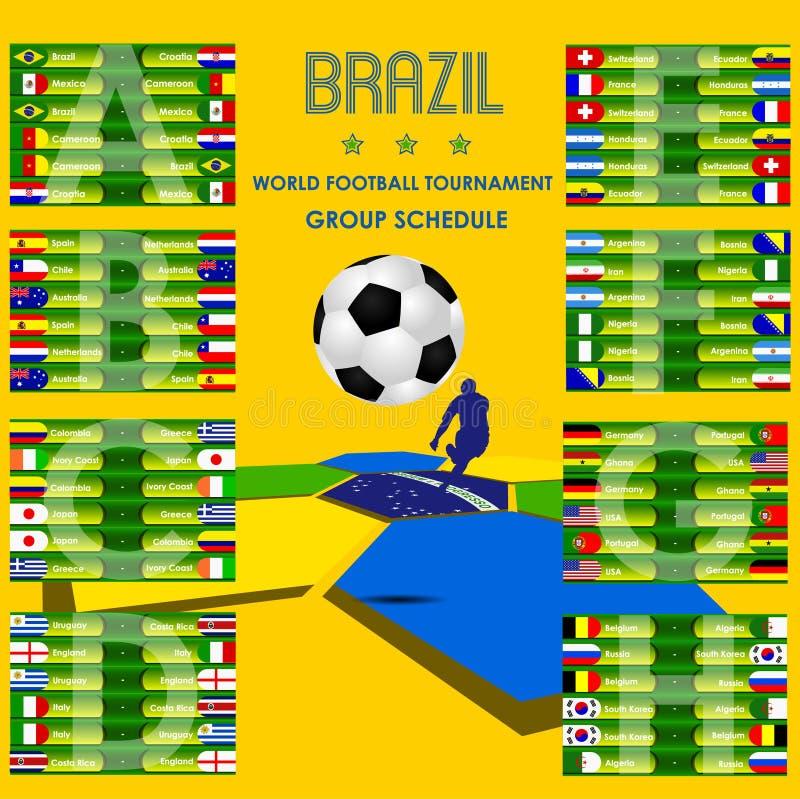 Vector 2014 del Brasil del horario del torneo del fútbol stock de ilustración