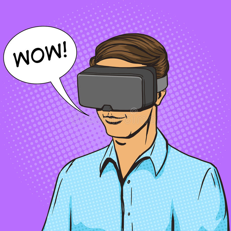 Vector del cómic del hombre y del dispositivo de la realidad virtual stock de ilustración