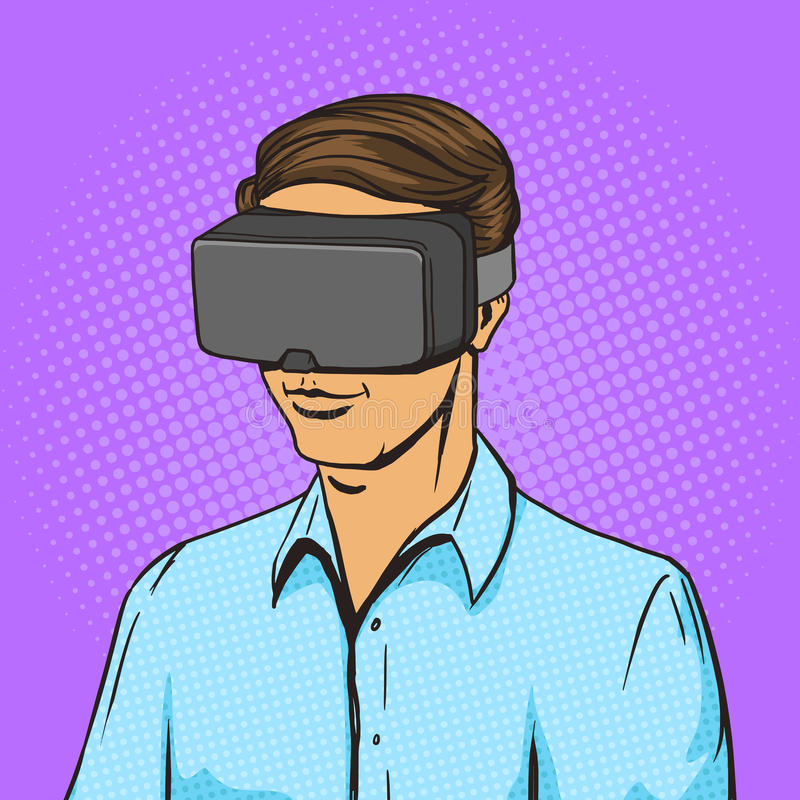 Vector del cómic del hombre y del dispositivo de la realidad virtual ilustración del vector
