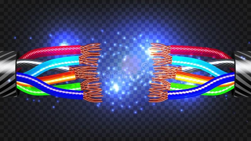 Vector del cable eléctrico de la rotura Desconexión de la rotura del cable ejemplo aislado realista 3D ilustración del vector