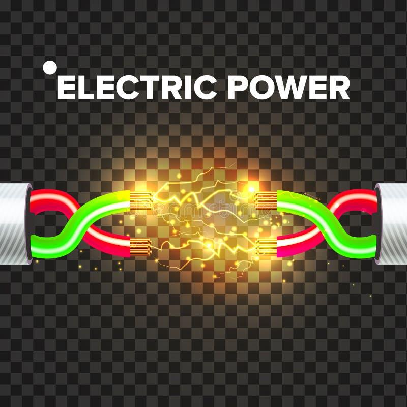 Vector del cable eléctrico de la rotura Poder del arco voltaico Energía de la electricidad ejemplo aislado realista 3D ilustración del vector