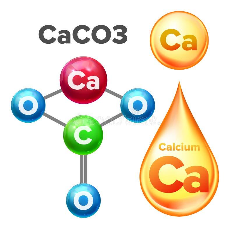 Vector del CaC03 del carbonato de calcio de la estructura molecular libre illustration