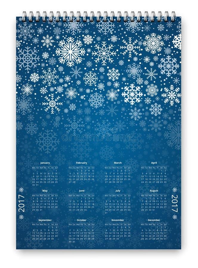 Vector del calendario 2017 stock de ilustración