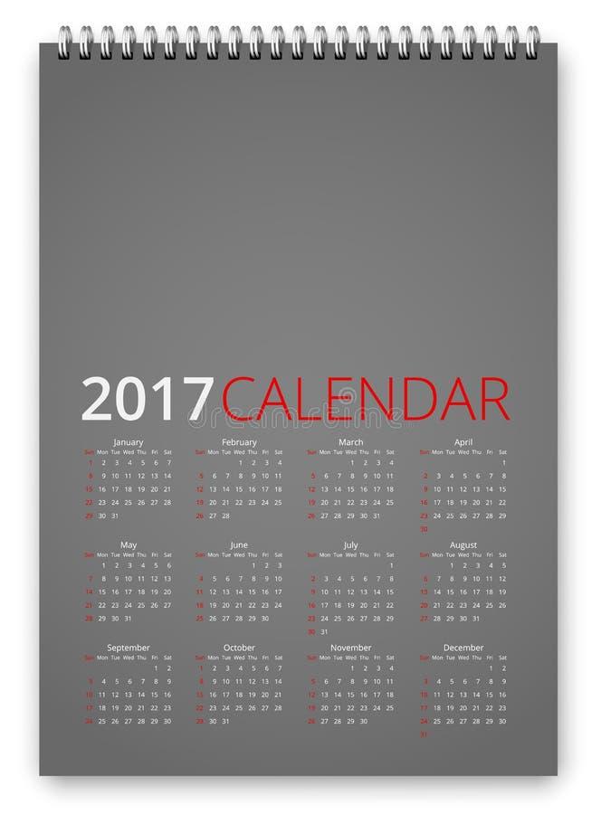 Vector del calendario 2017 ilustración del vector