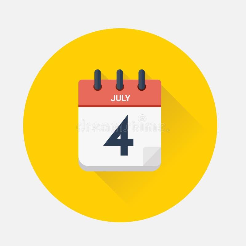Vector del calendario del día con fecha el 4 de julio de 2018 stock de ilustración