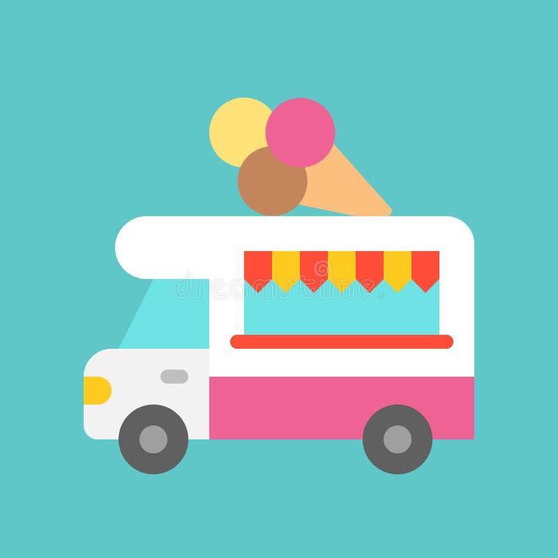 Vector del camión del helado, icono plano del estilo del camión de la comida libre illustration