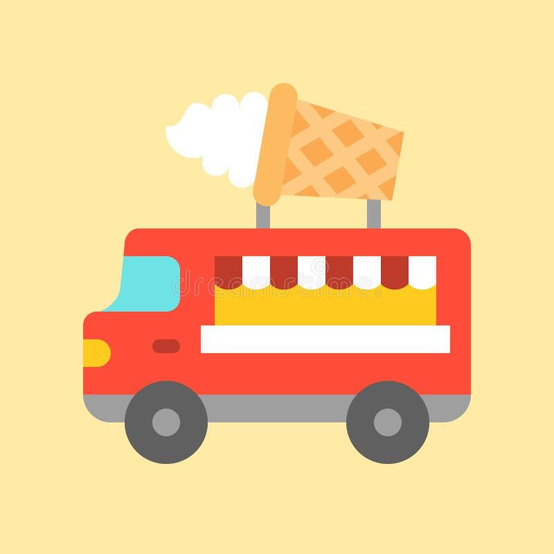 Vector del camión del helado, icono plano del estilo del camión de la comida stock de ilustración