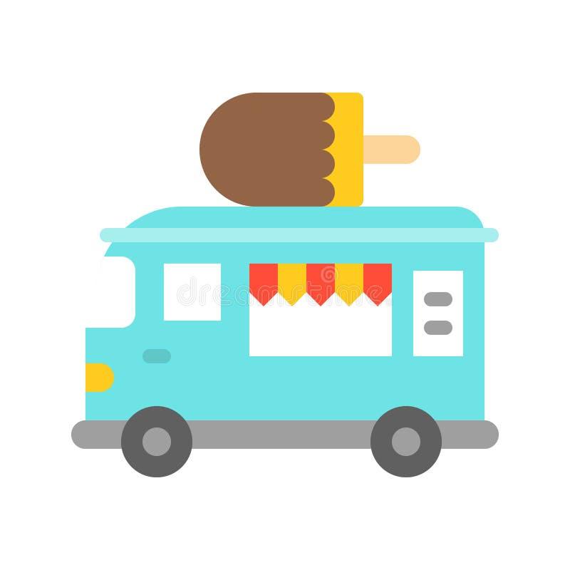 Vector del camión del helado, icono plano del estilo del camión de la comida ilustración del vector