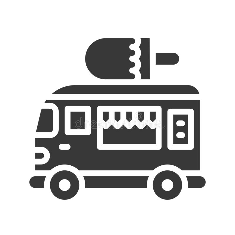 Vector del camión del helado, icono sólido del estilo del camión de la comida ilustración del vector