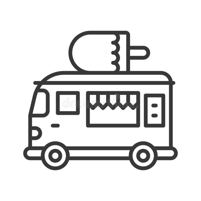 Vector del camión del helado, línea icono editable del camión de la comida del movimiento del estilo stock de ilustración