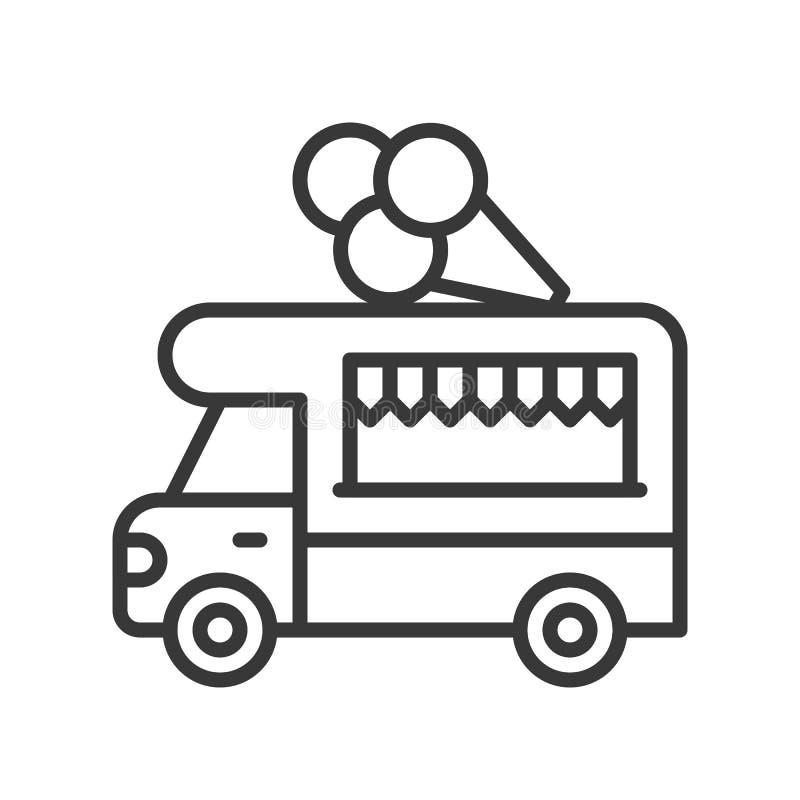Vector del camión del helado, línea icono editable del camión de la comida del movimiento del estilo libre illustration