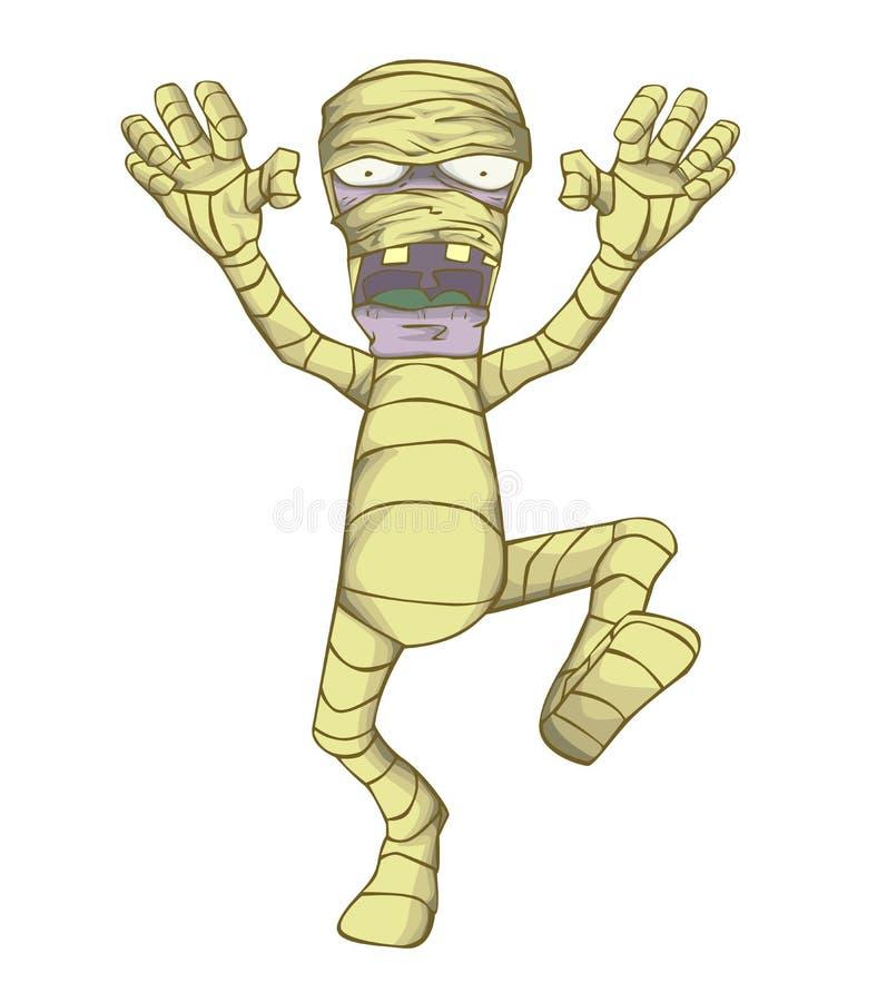Vector del carácter de la momia Monstruo en la noche de Halloween ilustración del vector