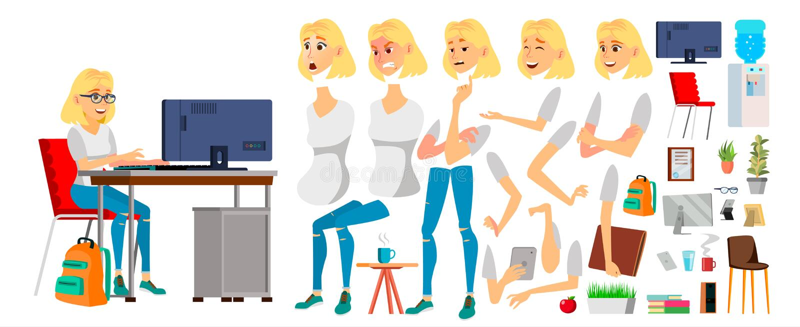 Vector del carácter de la mujer de negocios Muchacha rubia femenina de trabajo Carácter del negocio que trabaja en el escritorio  stock de ilustración