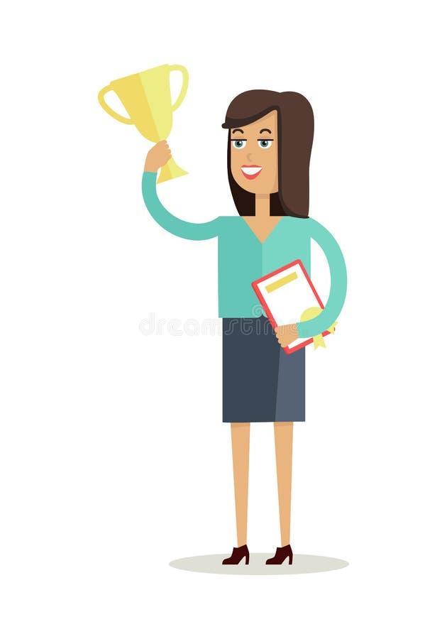 Vector del carácter del ganador de la mujer en diseño plano libre illustration