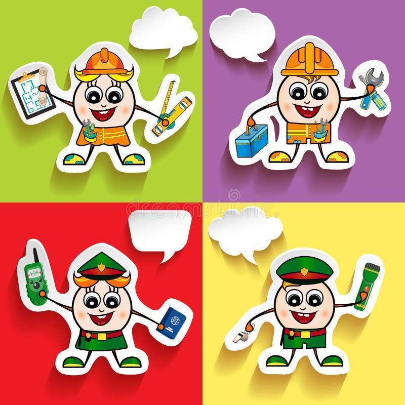 Vector del carácter del hombre de diversos empleos con las burbujas del discurso Policía, policía, empleado, ingeniero libre illustration