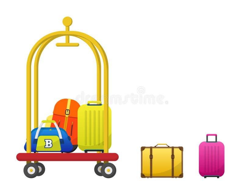 Vector del carro del equipaje del hotel con el equipaje colorido, mochila, bolso, cartera, carretilla del equipaje ilustración del vector