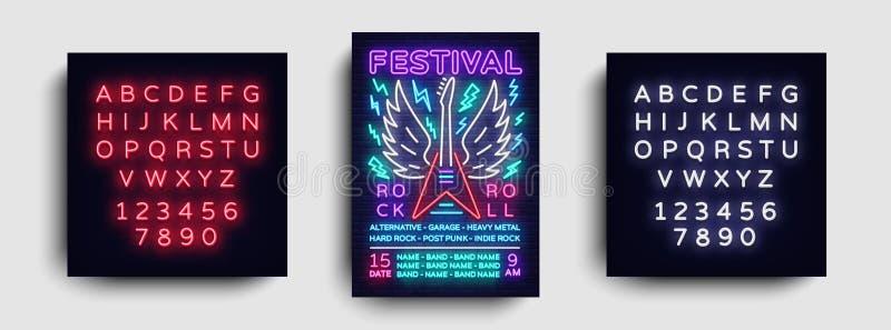 Vector del cartel del concierto de la música rock Festival de música rock de la plantilla del diseño, estilo de neón, bandera de  libre illustration