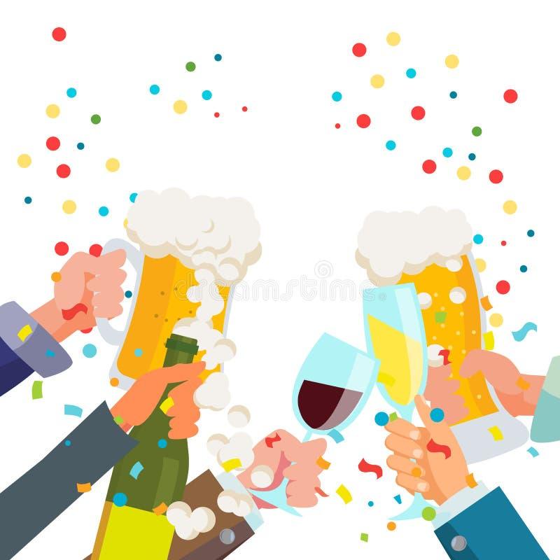 Vector del cartel del partido de la bebida Chin-Chin Victory Celebration Concept Vidrios que tintinean con alcohol Plano aislado libre illustration