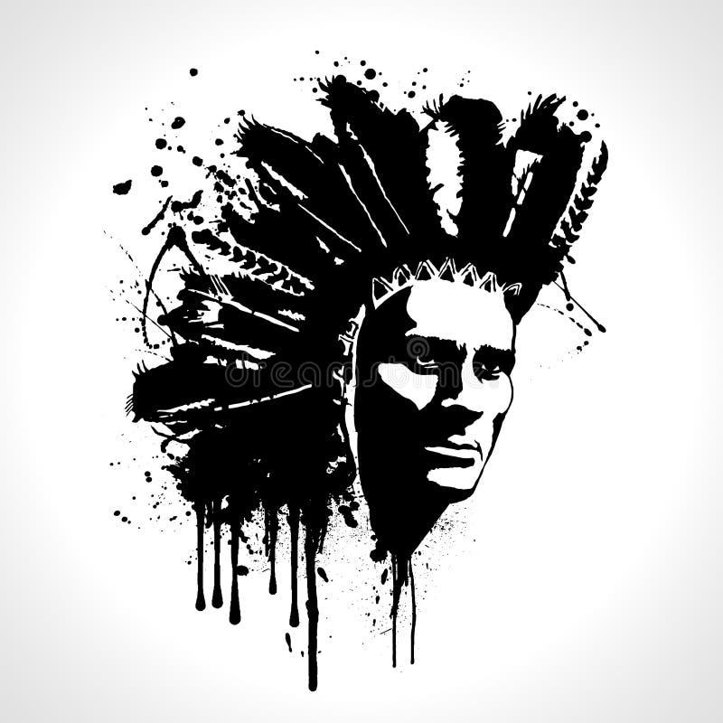 Vector del chapoteo del retrato del jefe indio Gráficos de la camiseta stock de ilustración
