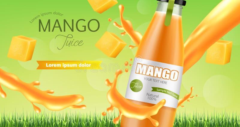Vector del chapoteo del jugo del mango realista mofa de la colocaci?n del producto para arriba Dise?o de empaquetado ejemplos 3D stock de ilustración