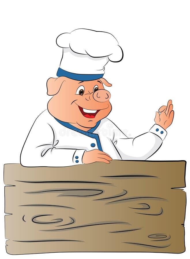 Vector del chef de cerdo dando un buen gesto stock de ilustración