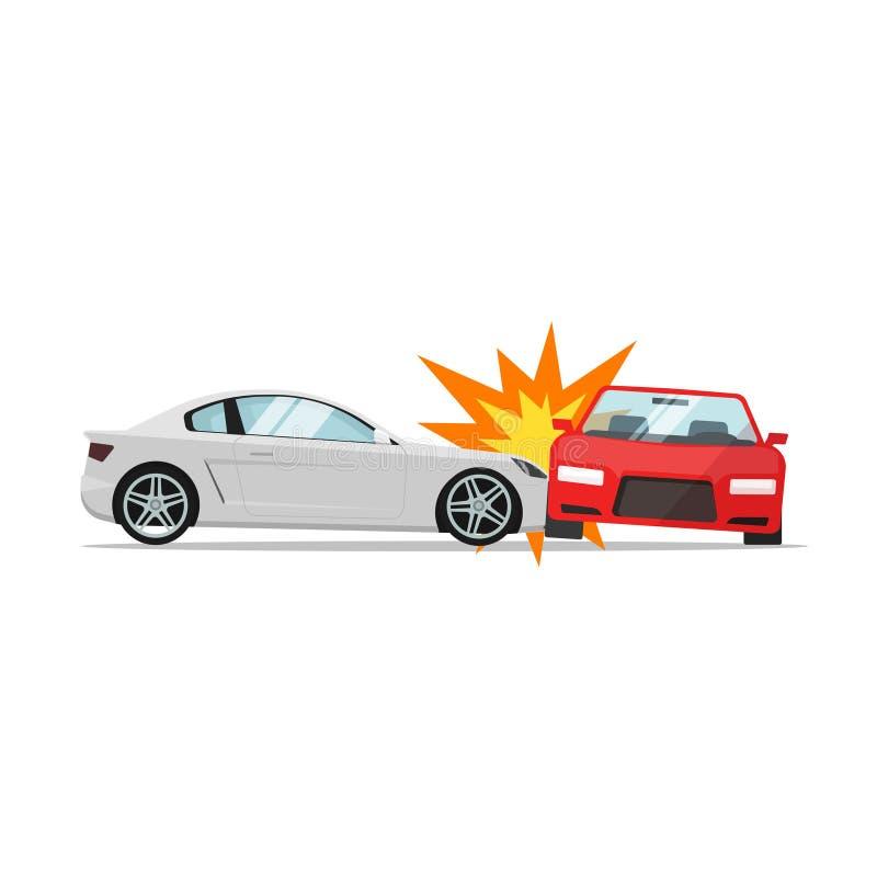 Vector del choque de coche, colisión de dos automóviles, escena del accidente auto stock de ilustración