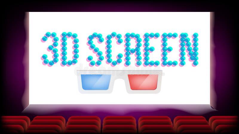 Vector del cine de la película de la pantalla 3D Asientos rojos Diseño en blanco del cartel de la premier Ilustración ilustración del vector