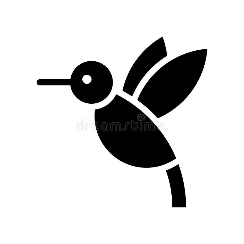 Vector del colibrí, icono sólido relacionado tropical del estilo libre illustration