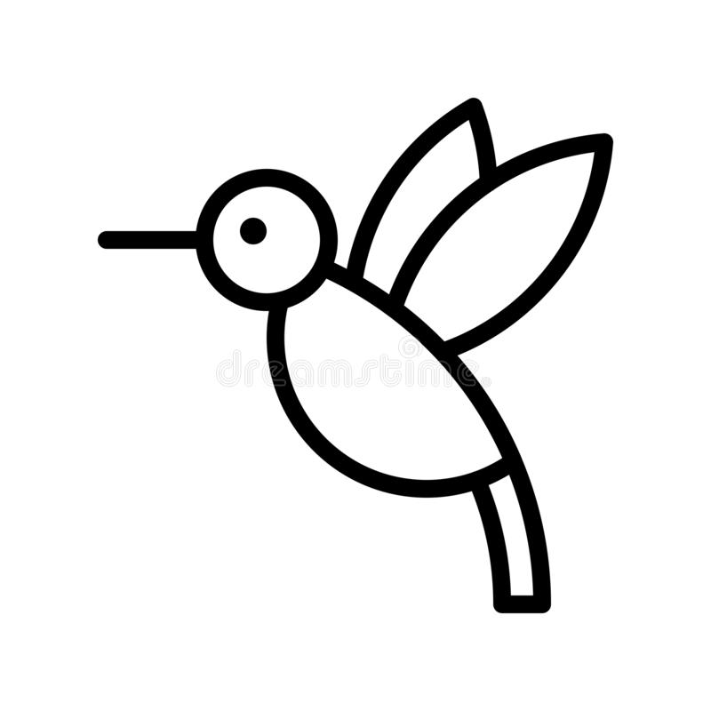 Vector del colibrí, línea relacionada tropical icono del estilo stock de ilustración