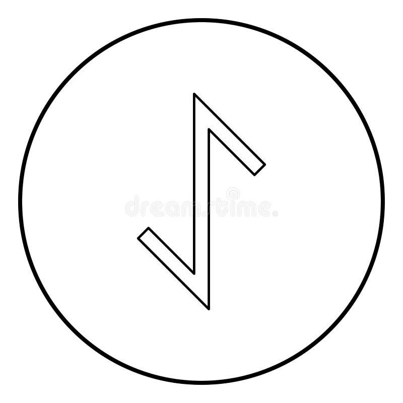Vector del color del negro del esquema del icono del símbolo de la tutela de la fuerza del tejo de la runa de Eywas en imagen pla stock de ilustración