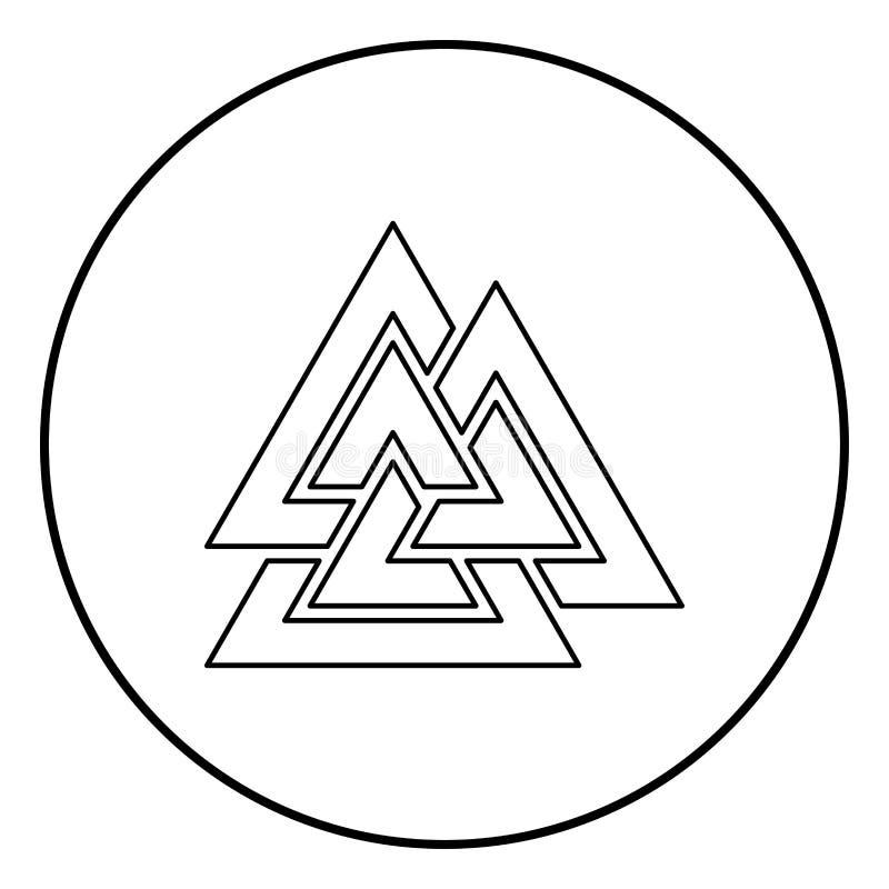 Vector del color del negro del esquema del icono del symblol de la muestra de Valknut en imagen plana del estilo del ejemplo redo stock de ilustración