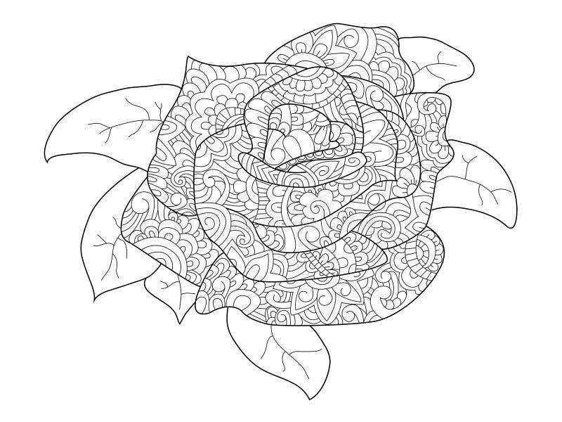 Vector del colorante de la flor de Rose para los adultos ilustración del vector