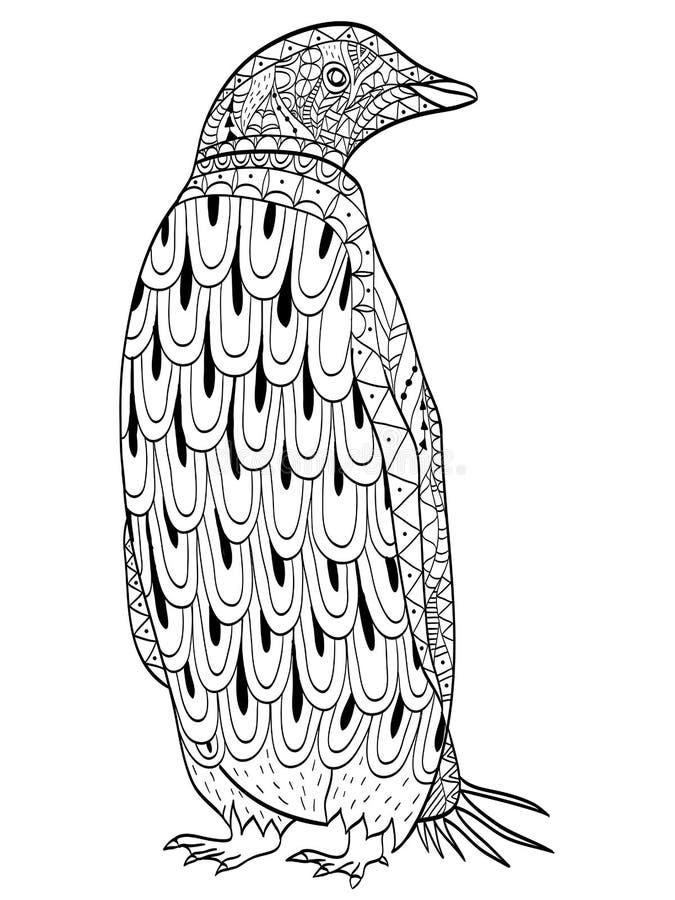 Vector Del Colorante Del Pingüino Para Los Adultos Ilustración del ...