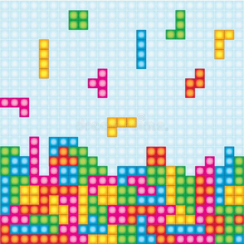 Vector del colorfull de la caja del juego de Tetris fotografía de archivo