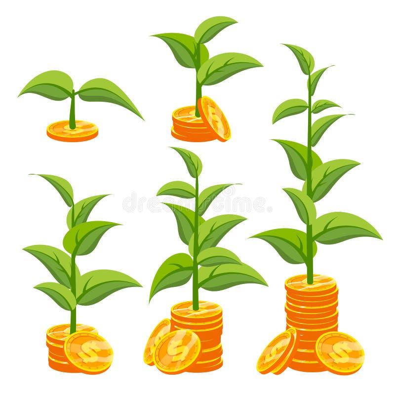 Vector del concepto del crecimiento del negocio Crecimiento de la inversión de la creatividad Monedas y planta de oro Árbol de la stock de ilustración