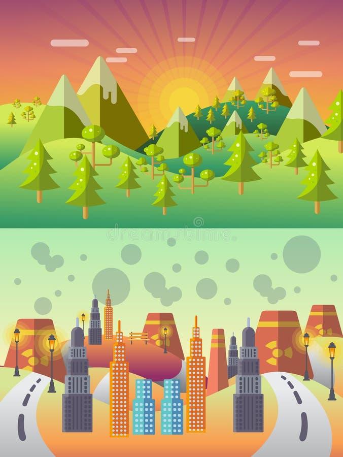 Vector del concepto de la ecología Paisaje de la ciudad Contaminación ambiental stock de ilustración