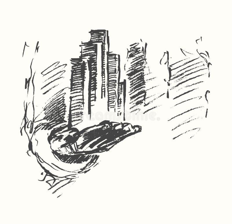 Vector del concepto de la mano del hombre del centro de ciudad del negocio ilustración del vector