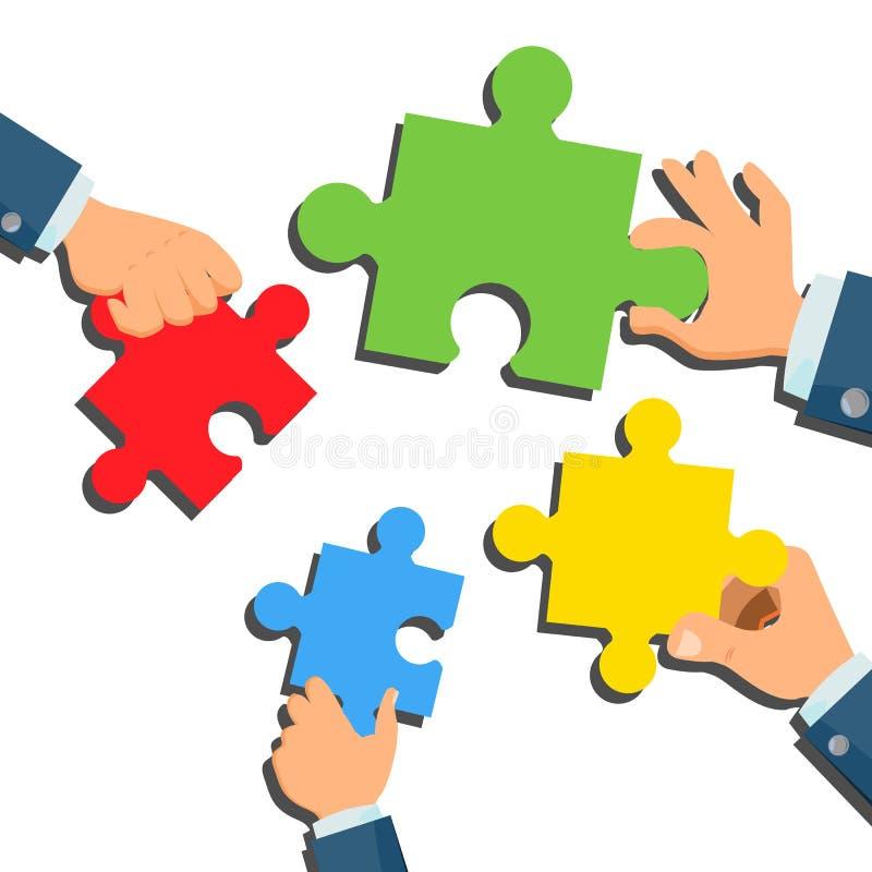 Vector del concepto de la solución Hombre de negocios Hands With Puzzle metáfora Estrategia del éxito Inspirándose, salida del ha ilustración del vector
