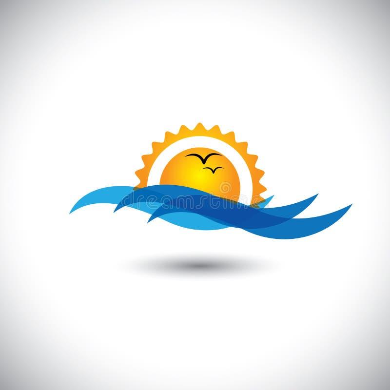 Vector del concepto del océano - salida del sol hermosa, ondas y pájaros de la mañana ilustración del vector