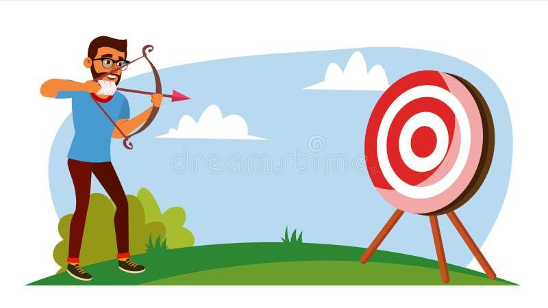 Vector del concepto del logro Hombre de negocios Shooting From un arco en una blanco Logro objetivo, logro Historieta plana stock de ilustración