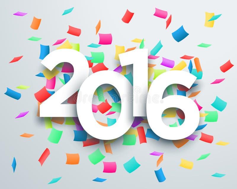 Vector del confeti de la celebración de 2016 títulos con el diseño 1 de la sombra del descenso 3d libre illustration