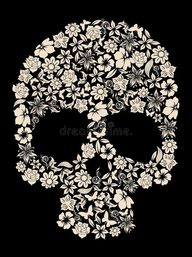 Vector del cráneo de la flor stock de ilustración