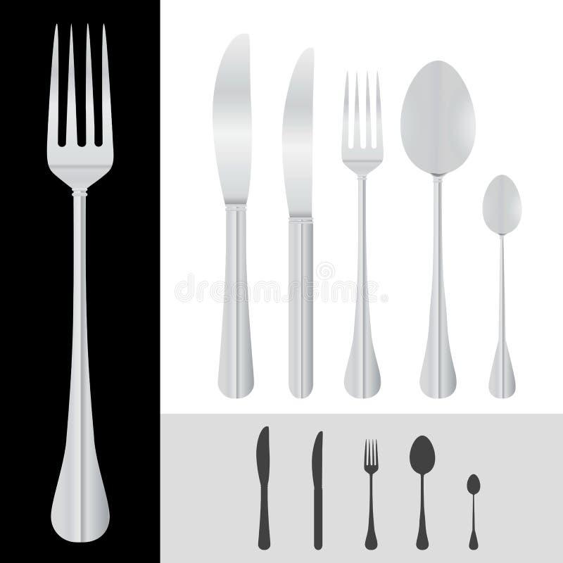 vector del cuchillo de la fork de la cuchara stock de ilustración