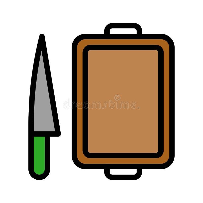 Vector del cuchillo y de la tajadera, icono editable llenado relacionado del movimiento del estilo de la barbacoa stock de ilustración